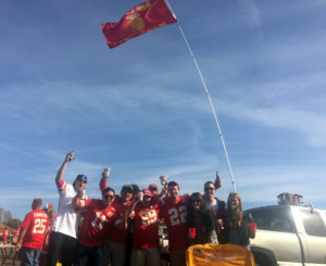 Fifth-year season ticket holder David Schrunk flies his Harambe flag at every Chiefs tailgate.